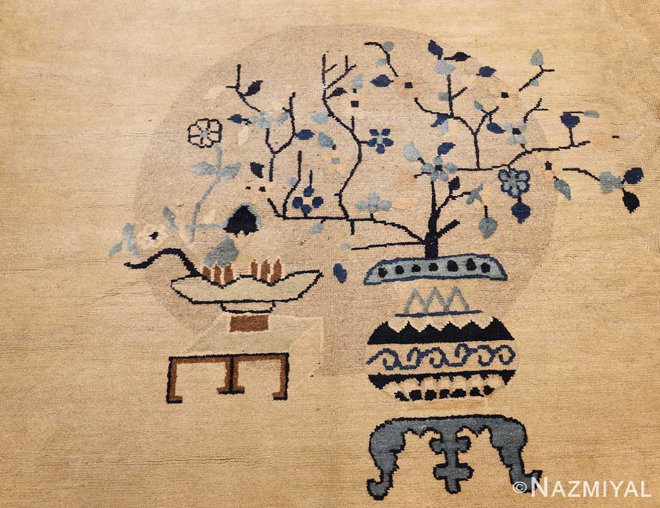 large cream background antique peking chinese rug 49333 medallion Nazmiyal