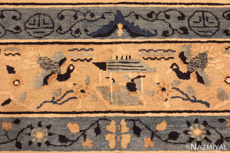 large cream background antique peking chinese rug 49333 temple Nazmiyal