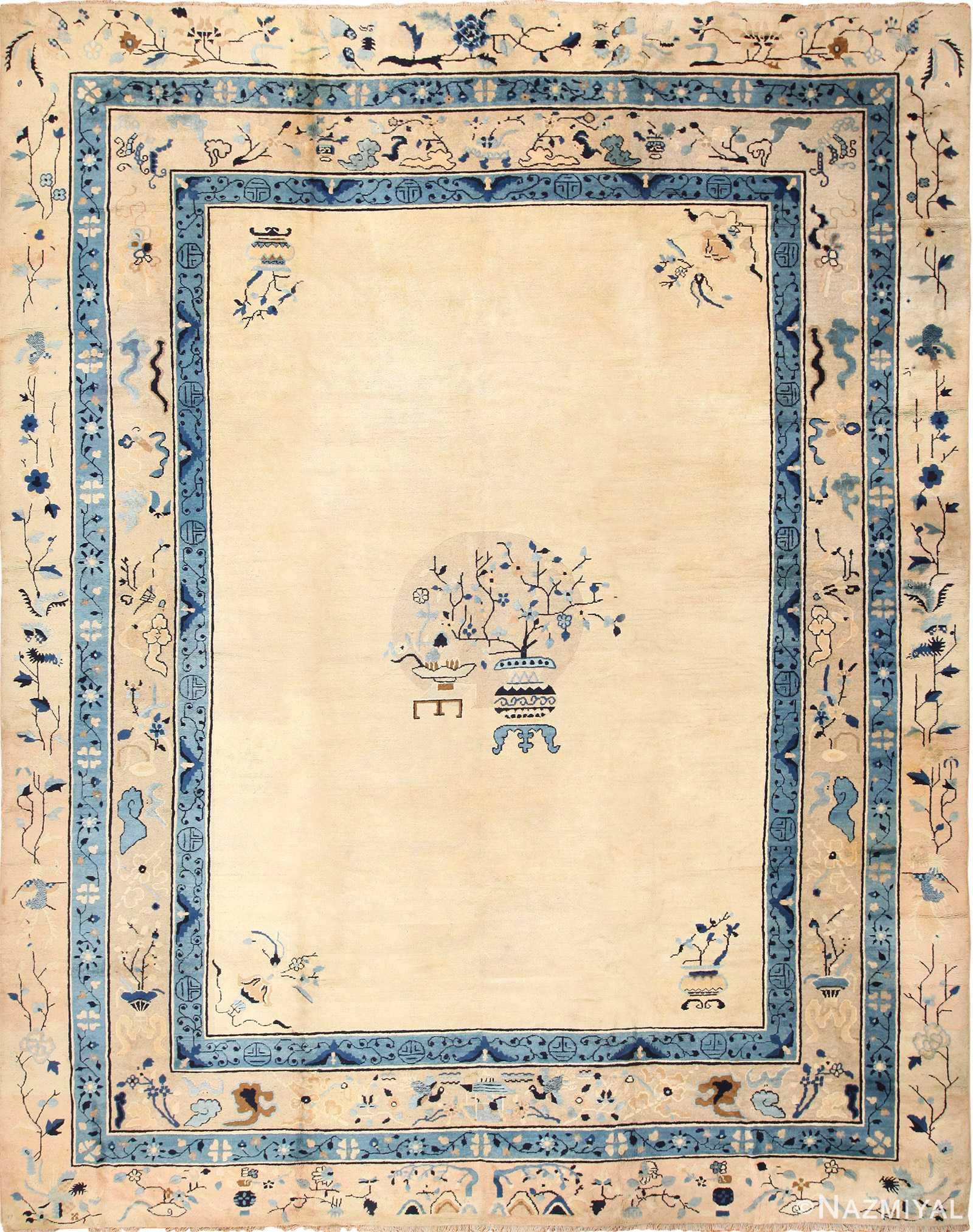 large cream background antique peking chinese rug 49333 Nazmiyal