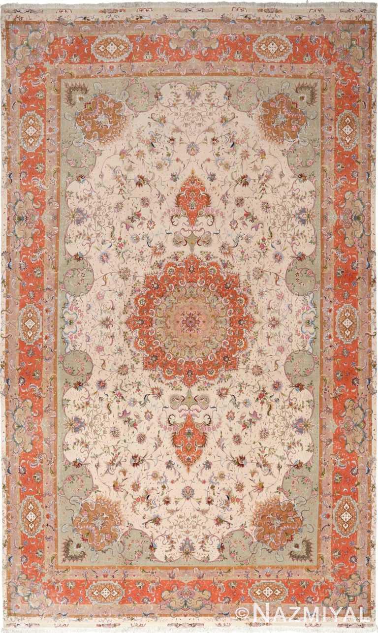 large ivory vintage tabriz persian rug 51143 Nazmiyal