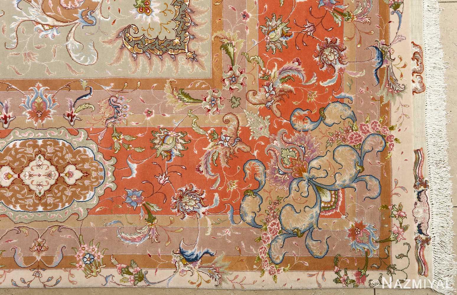 large ivory vintage tabriz persian rug 51143 corner Nazmiyal