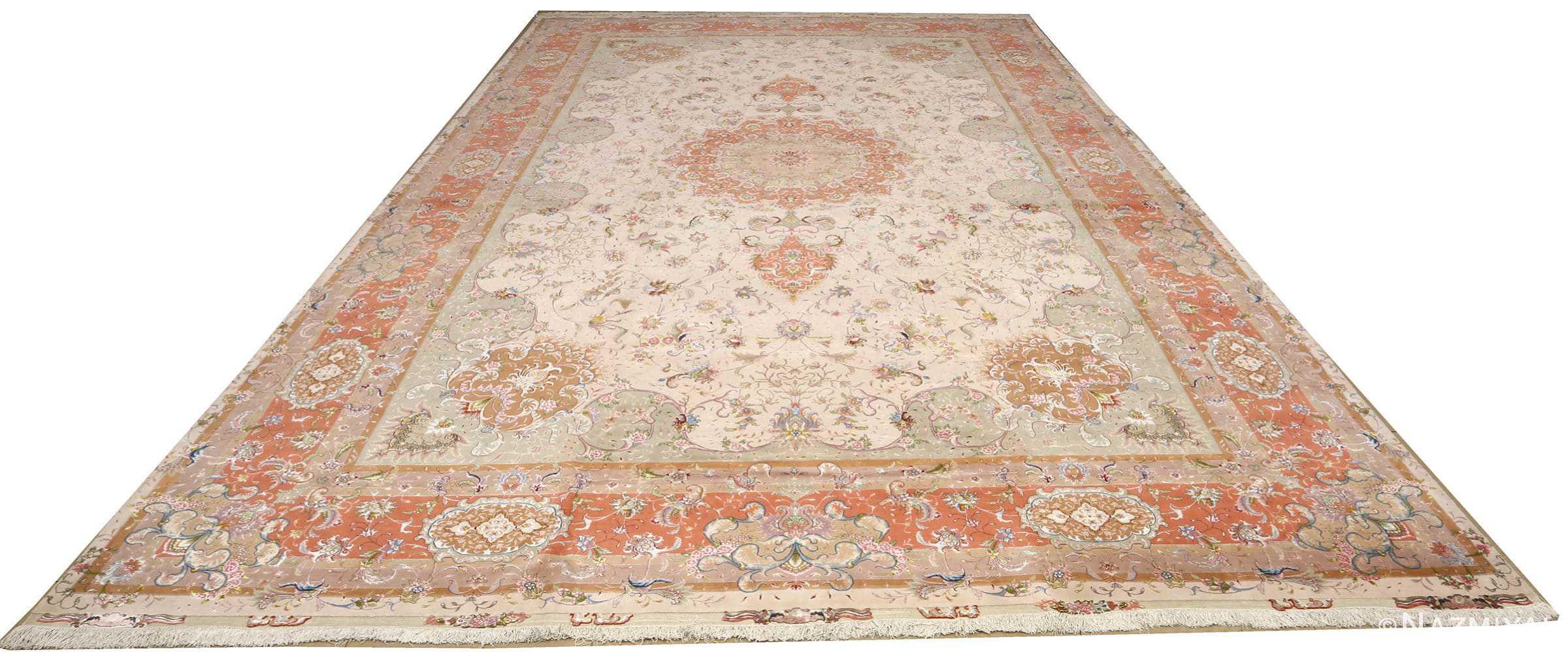 large ivory vintage tabriz persian rug 51143 full Nazmiyal