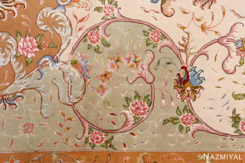large ivory vintage tabriz persian rug 51143 green Nazmiyal