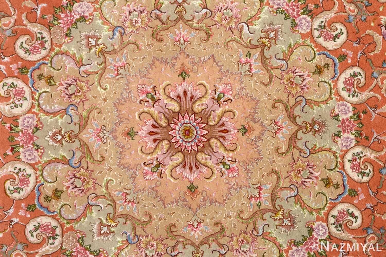 large ivory vintage tabriz persian rug 51143 medallion Nazmiyal