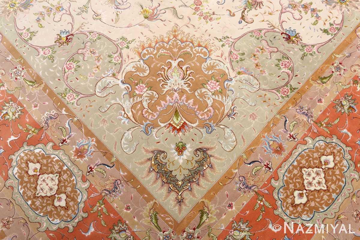 large ivory vintage tabriz persian rug 51143 part Nazmiyal
