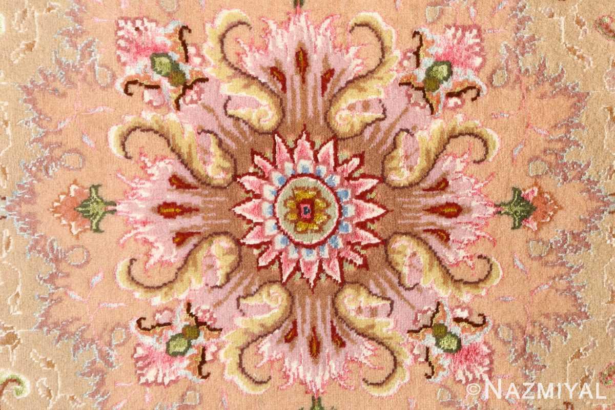 large ivory vintage tabriz persian rug 51143 pink Nazmiyal
