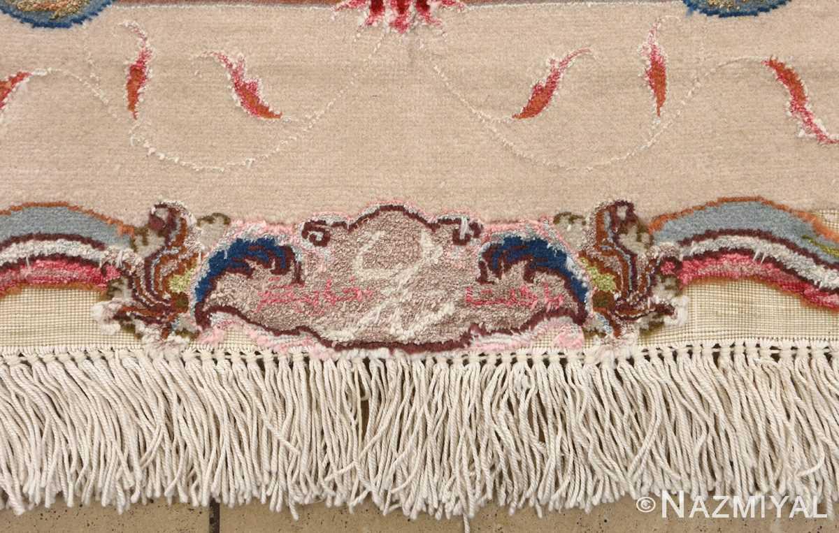 large ivory vintage tabriz persian rug 51143 signature Nazmiyal