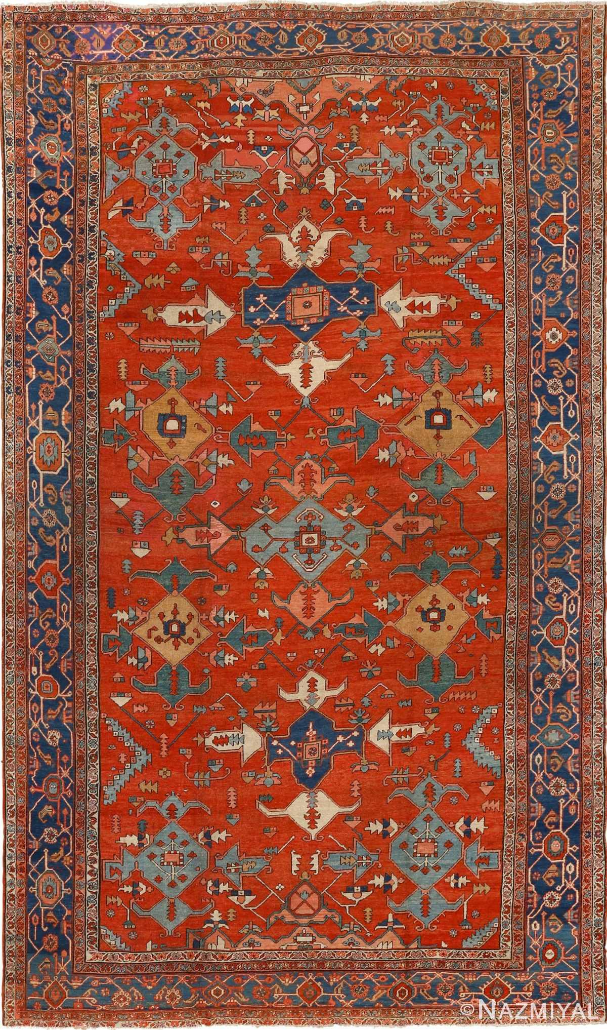 large red antique serapi persian rug 51121 Nazmiyal