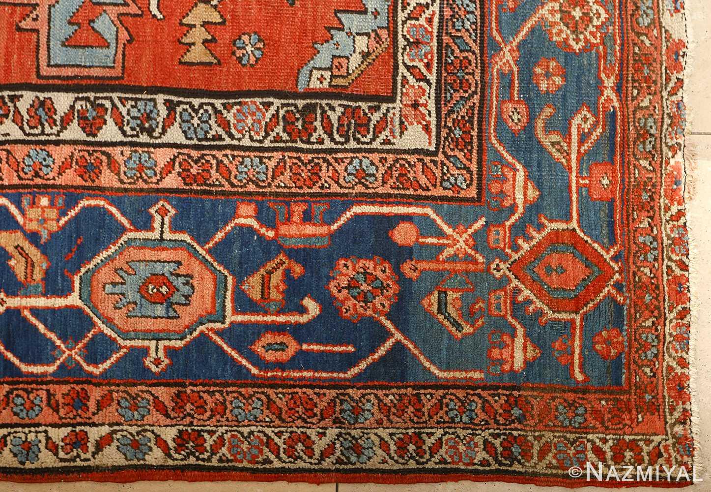 large red antique serapi persian rug 51121 corner Nazmiyal