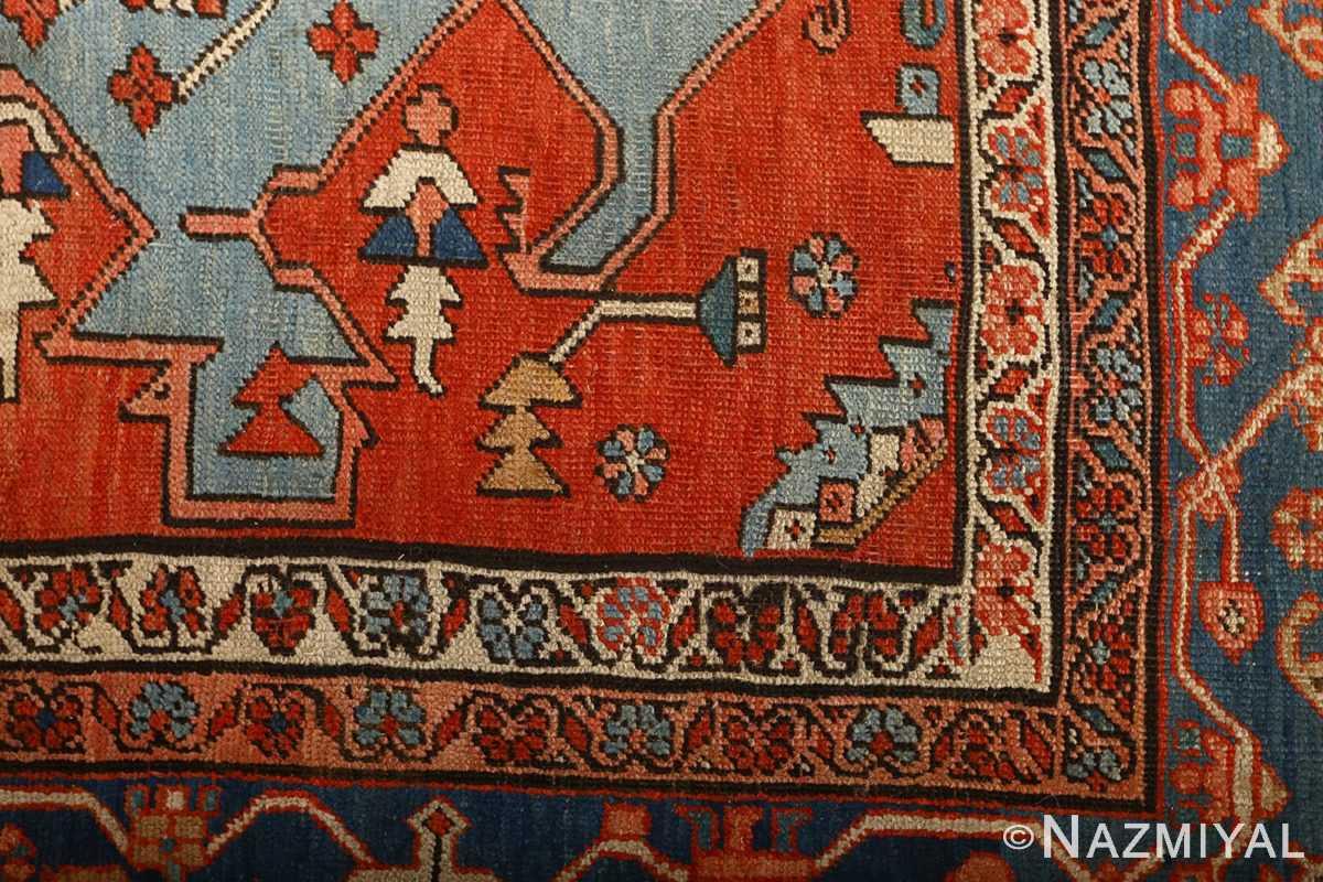 large red antique serapi persian rug 51121 design Nazmiyal
