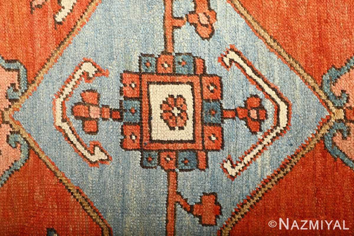 large red antique serapi persian rug 51121 flower Nazmiyal