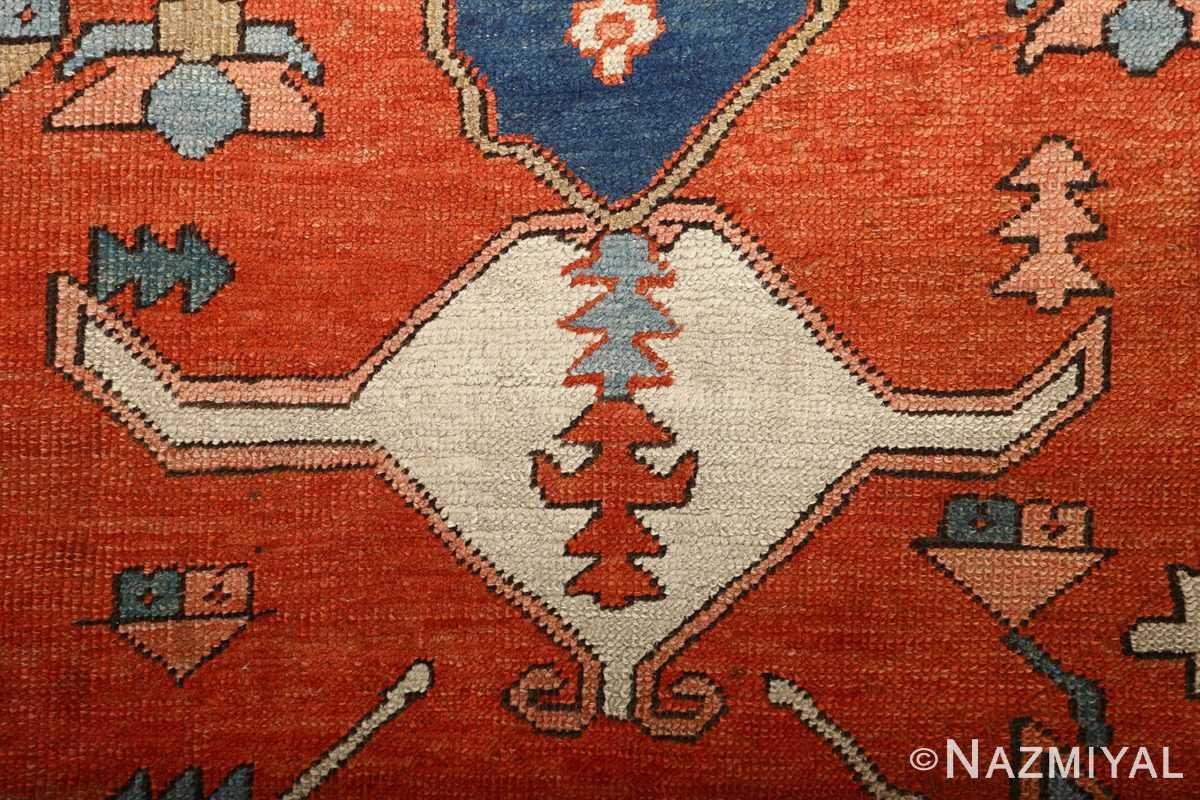 large red antique serapi persian rug 51121 head Nazmiyal