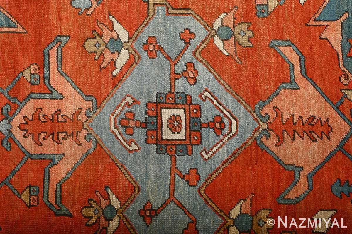 large red antique serapi persian rug 51121 medallion Nazmiyal