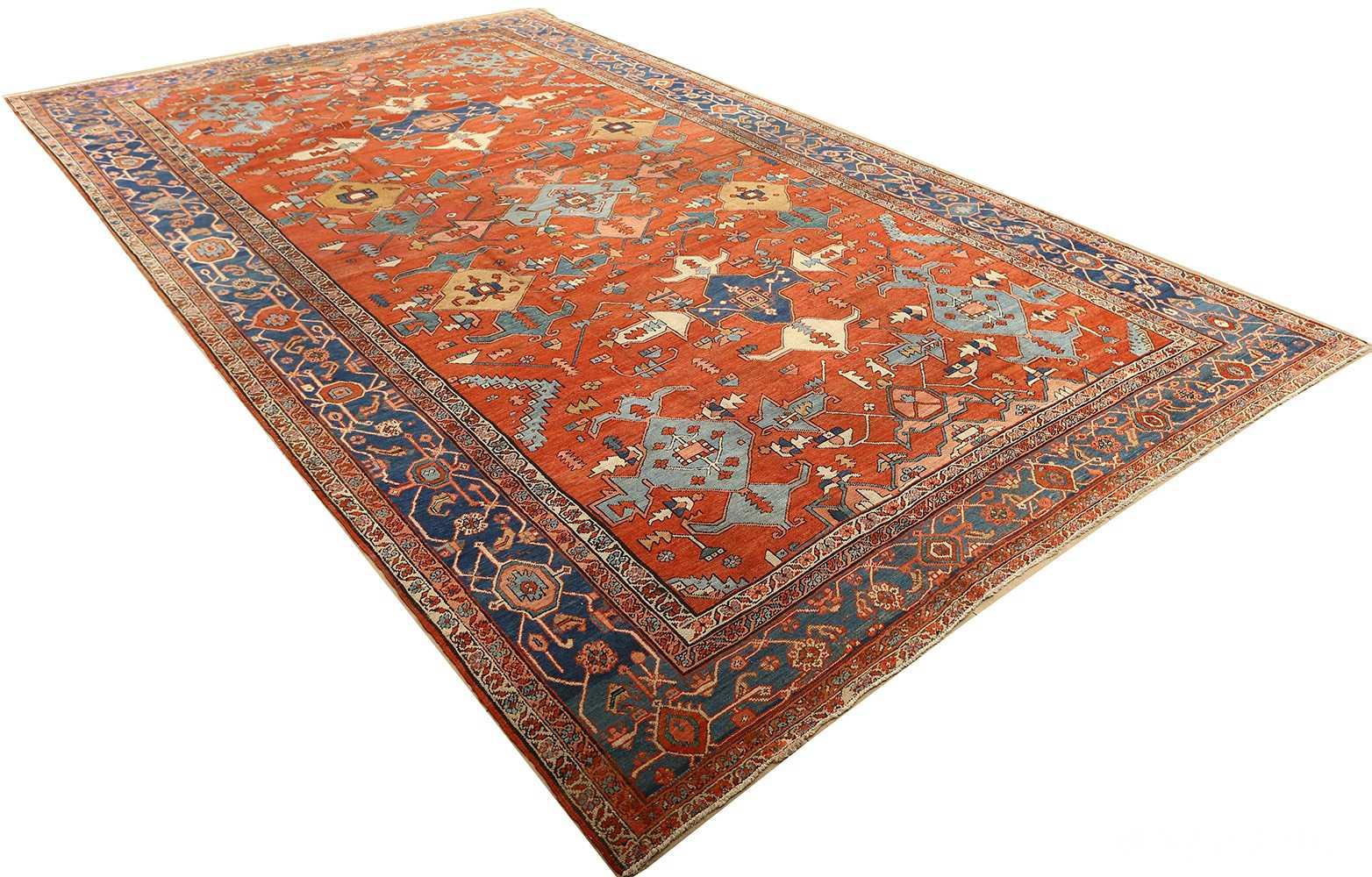 large red antique serapi persian rug 51121 side Nazmiyal