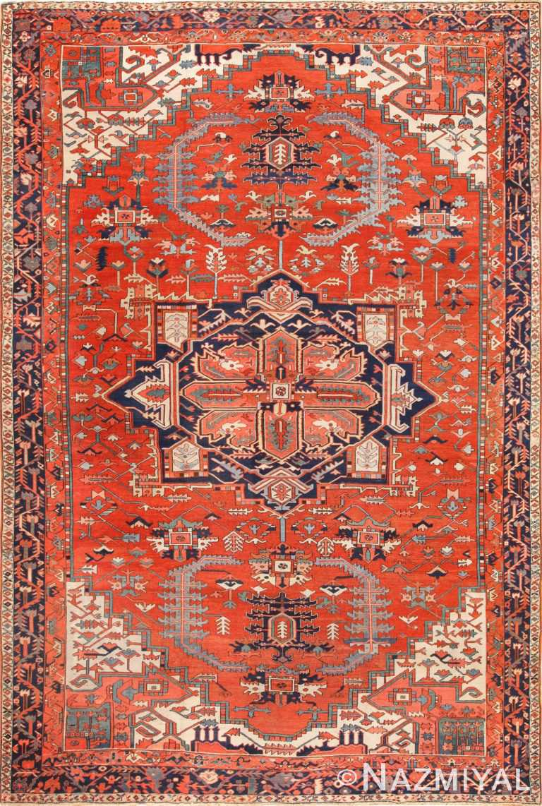 large red background antique serapi persian rug 49325 Nazmiyal