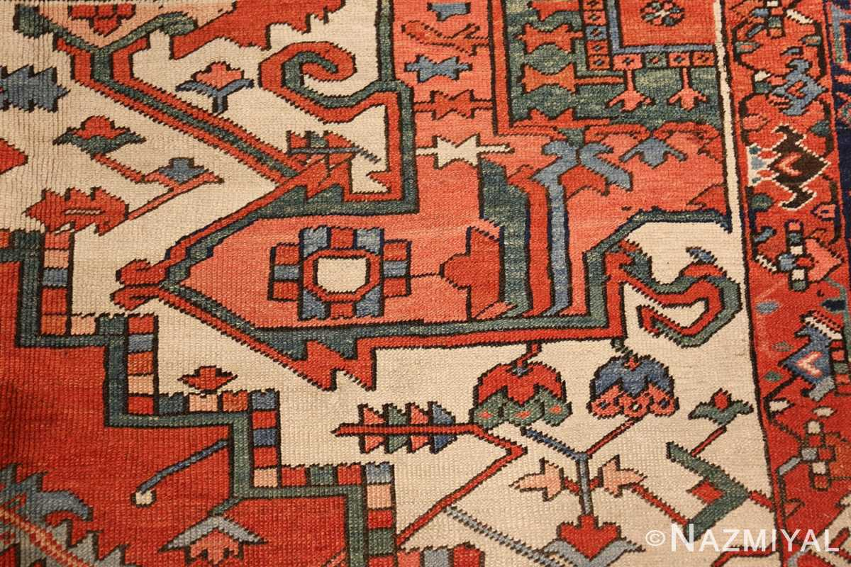 large red background antique serapi persian rug 49325 design Nazmiyal