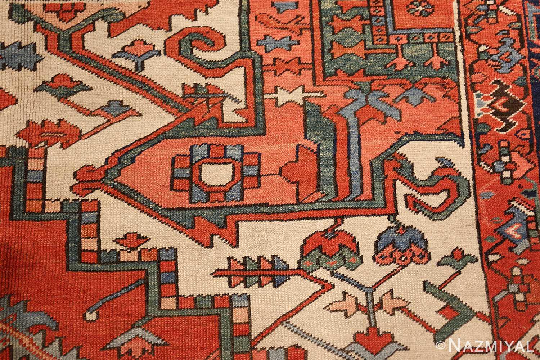 large red background antique serapi persian rug 49325 design Nazmiyal