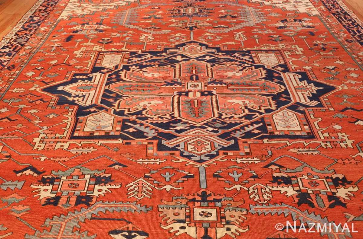 large red background antique serapi persian rug 49325 full Nazmiyal