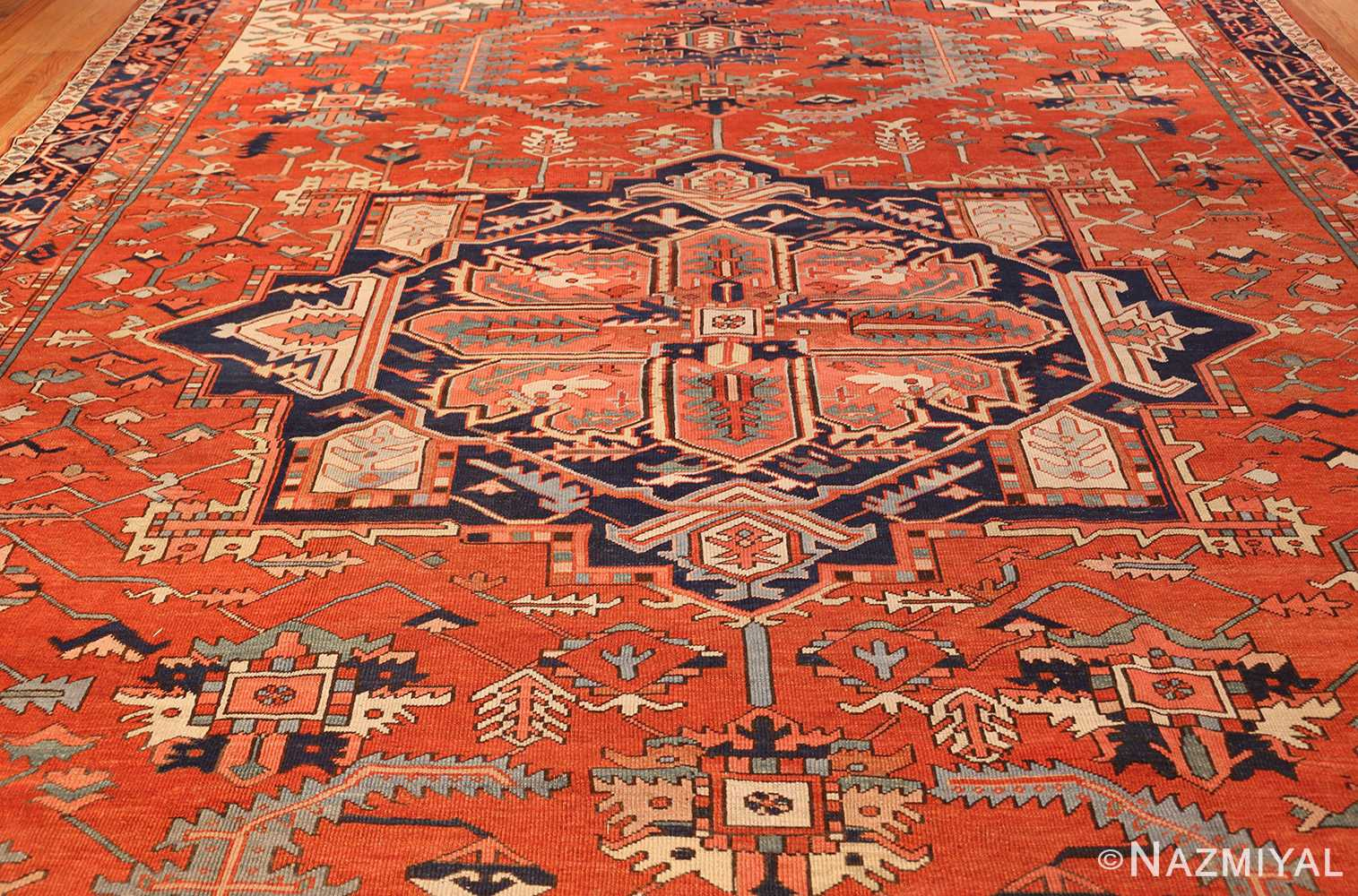 large red background antique serapi persian rug 49325 full Nazmiyal