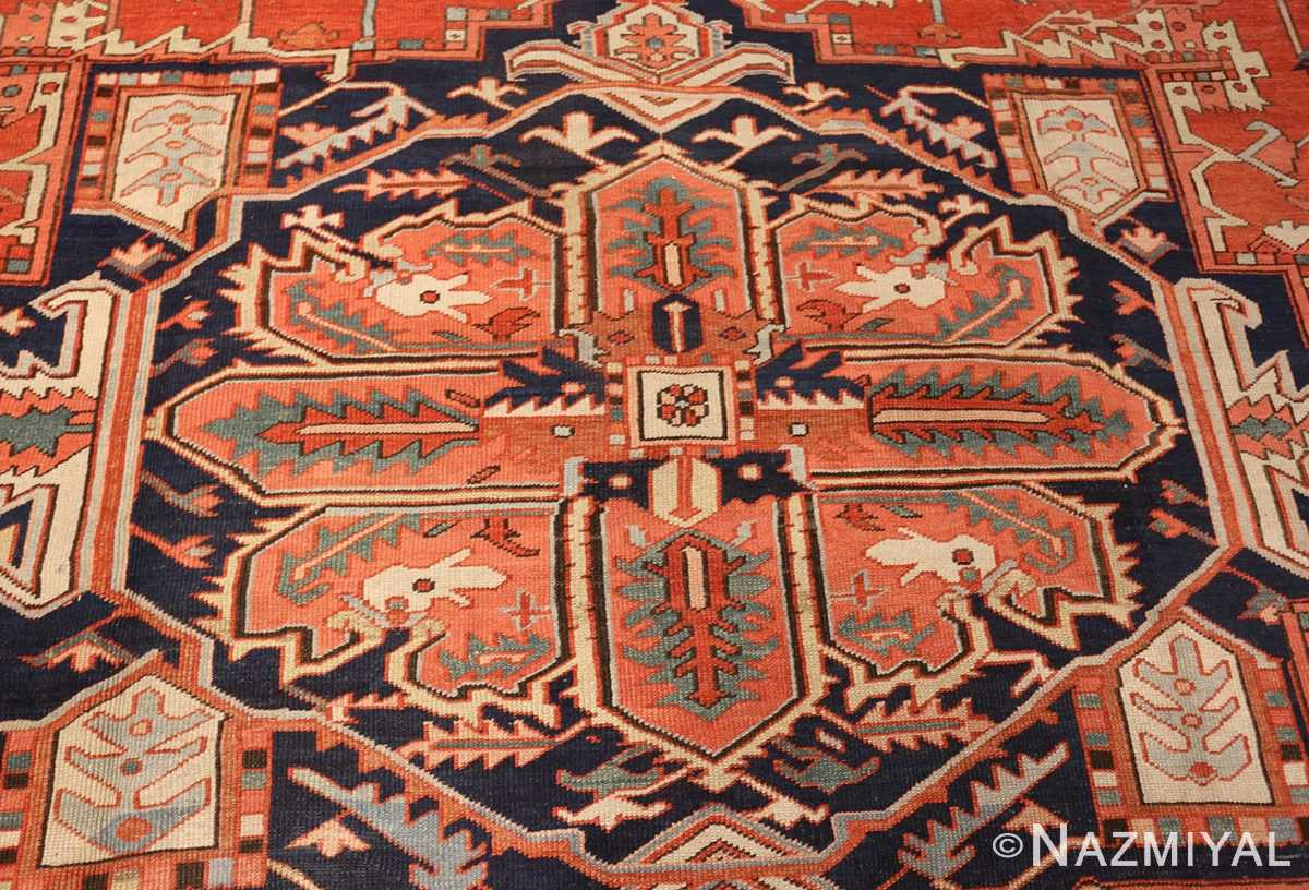 large red background antique serapi persian rug 49325 medallion Nazmiyal
