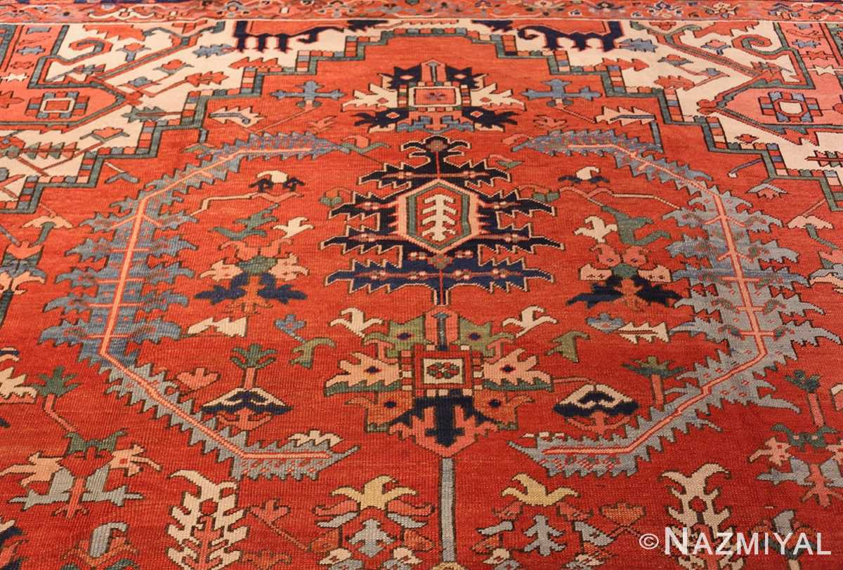 large red background antique serapi persian rug 49325 top Nazmiyal