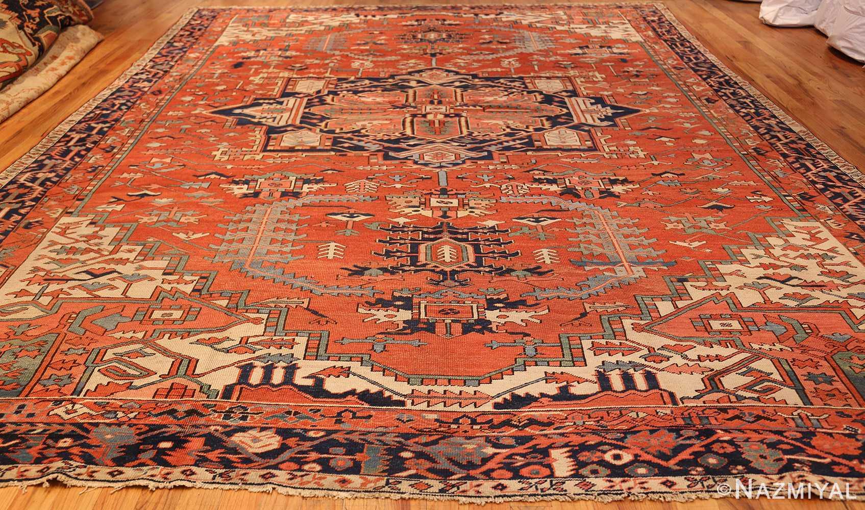 large red background antique serapi persian rug 49325 whole Nazmiyal