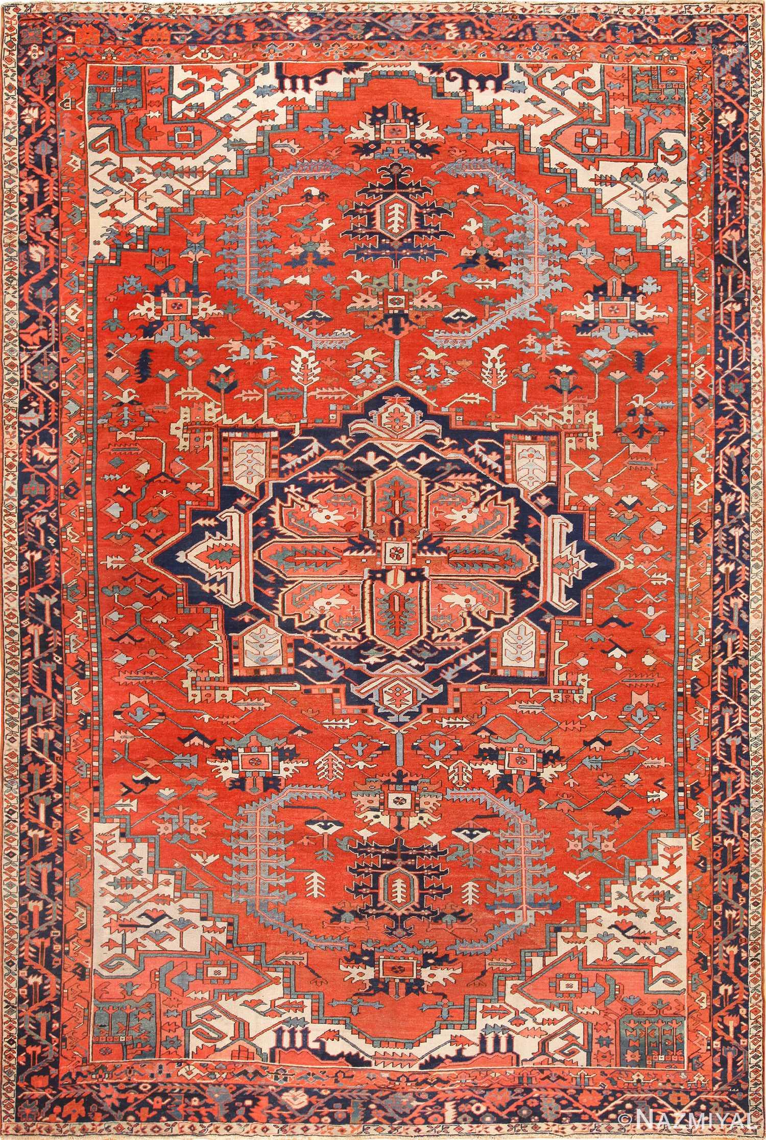 large red background antique serapi persian rug 49325 Nazmiyal