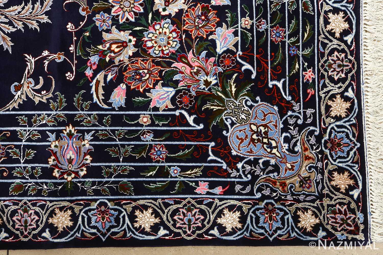 navy background vintage isfahan persian rug 51149 corner Nazmiyal