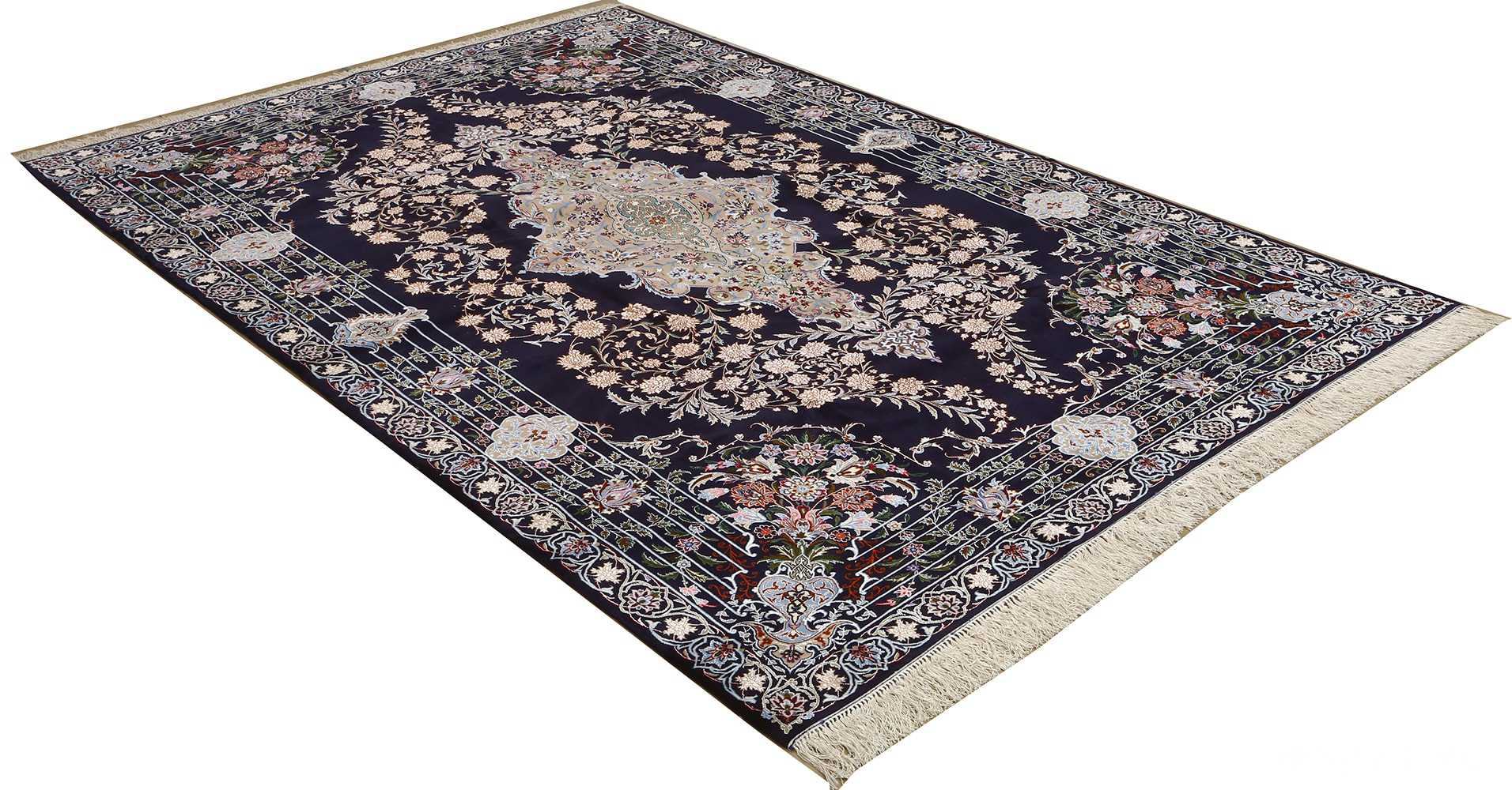 navy background vintage isfahan persian rug 51149 side Nazmiyal