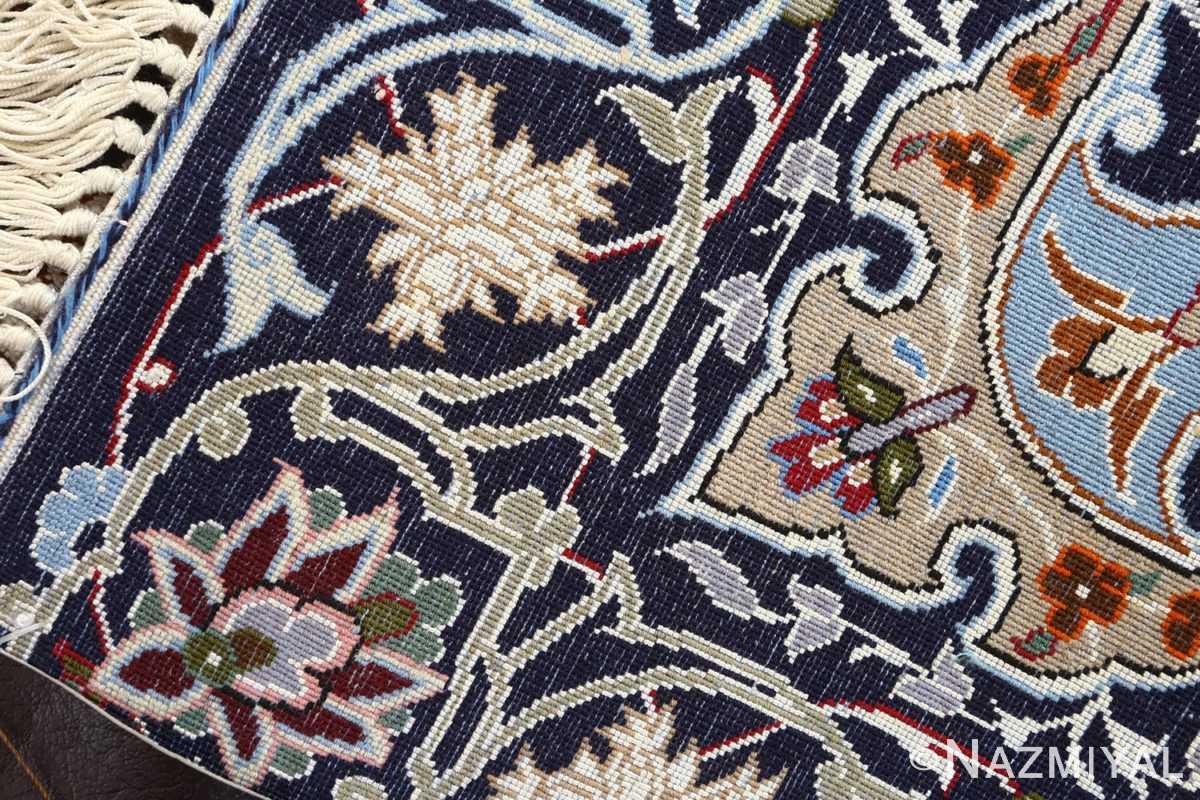 navy background vintage isfahan persian rug 51149 weave Nazmiyal