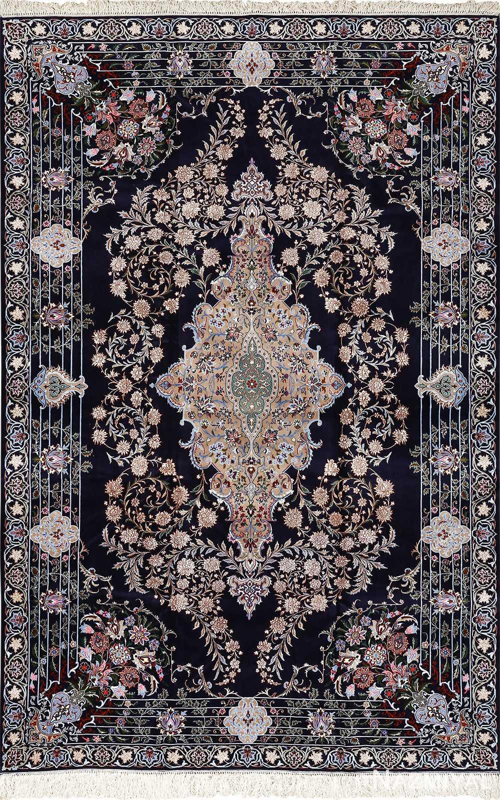 navy background vintage isfahan persian rug 51149 Nazmiyal
