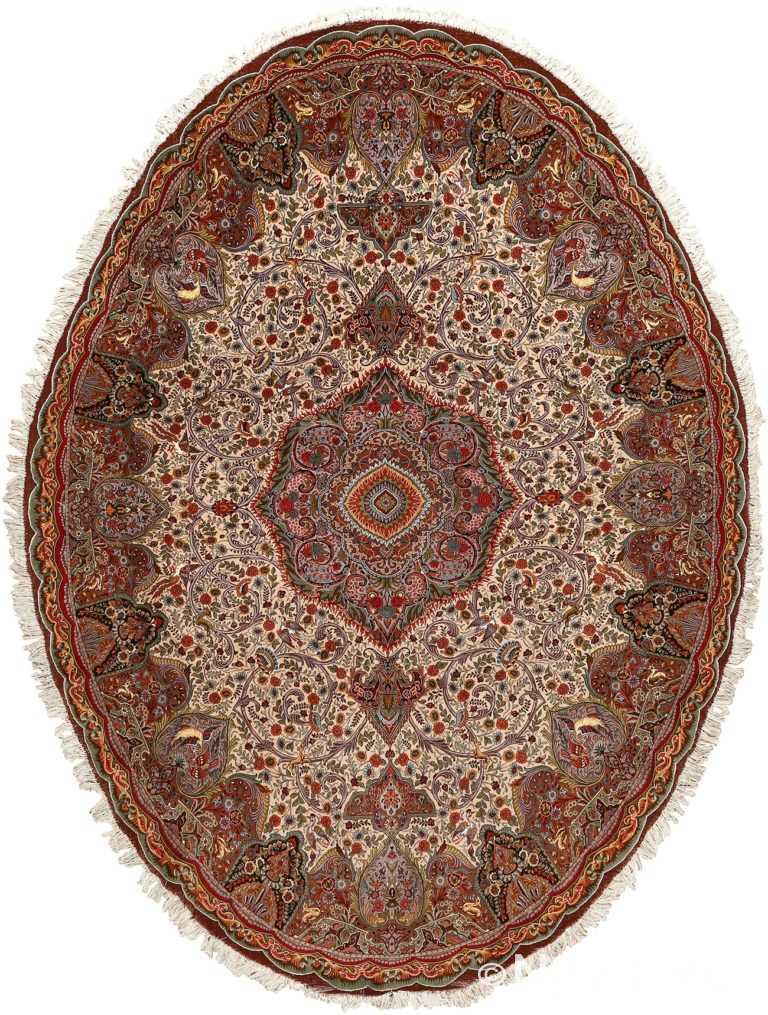 oval animal motif vintage tabriz persian rug 51120 Nazmiyal