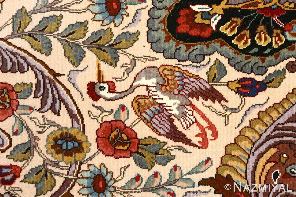 oval animal motif vintage tabriz persian rug 51120 bird Nazmiyal