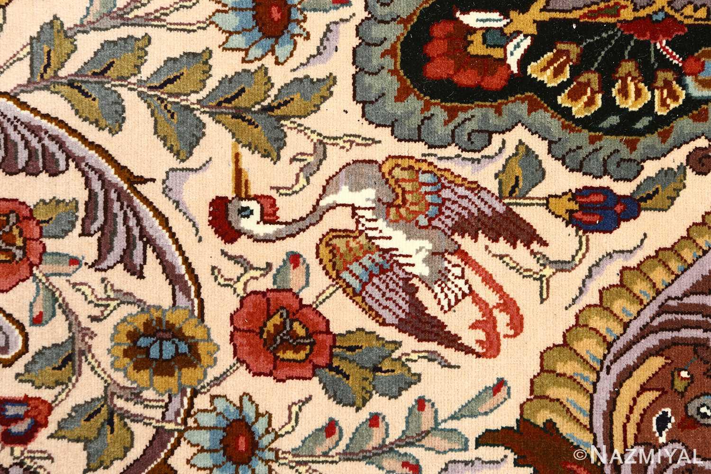oval animal motif vintage tabriz persian rug 51120 bird Nazmiyal