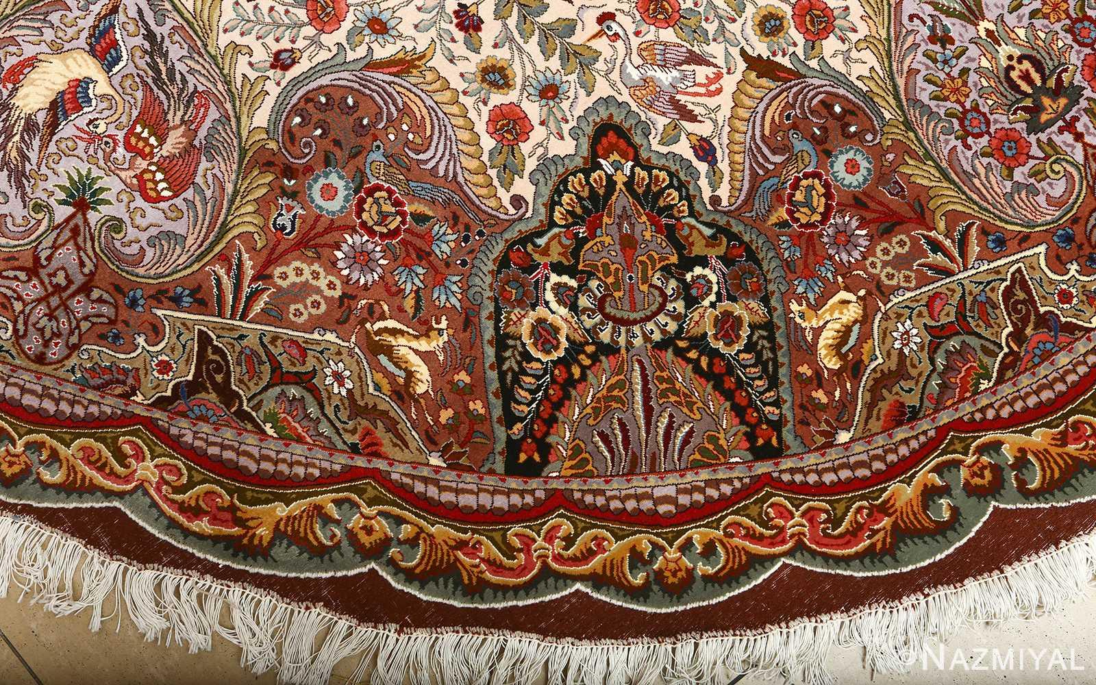 oval animal motif vintage tabriz persian rug 51120 border Nazmiyal