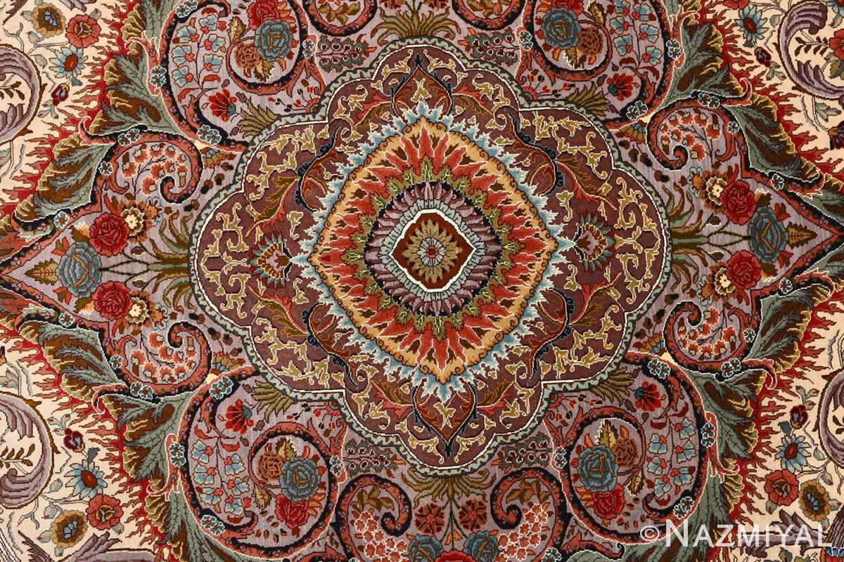 oval animal motif vintage tabriz persian rug 51120 center Nazmiyal