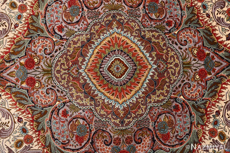 oval animal motif vintage tabriz persian rug 51120 center Nazmiyal