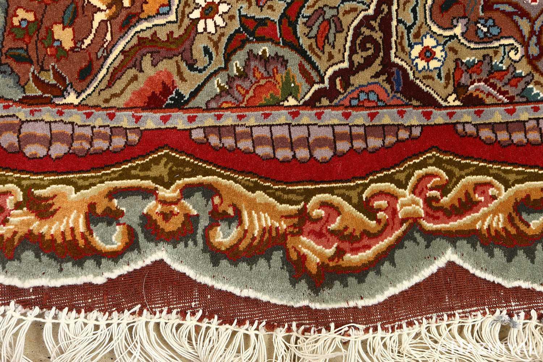 oval animal motif vintage tabriz persian rug 51120 closeup Nazmiyal