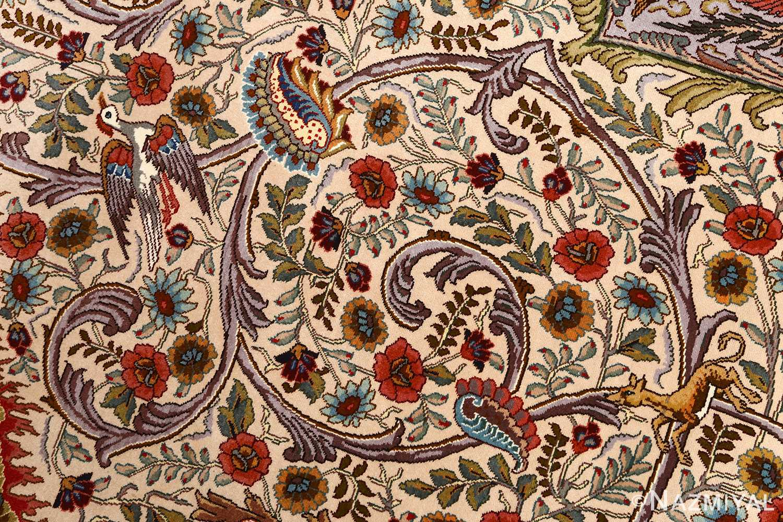 oval animal motif vintage tabriz persian rug 51120 field Nazmiyal