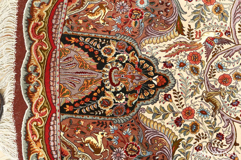 oval animal motif vintage tabriz persian rug 51120 jumping Nazmiyal
