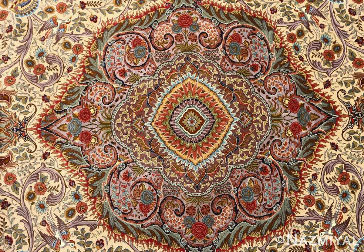 oval animal motif vintage tabriz persian rug 51120 medallion Nazmiyal
