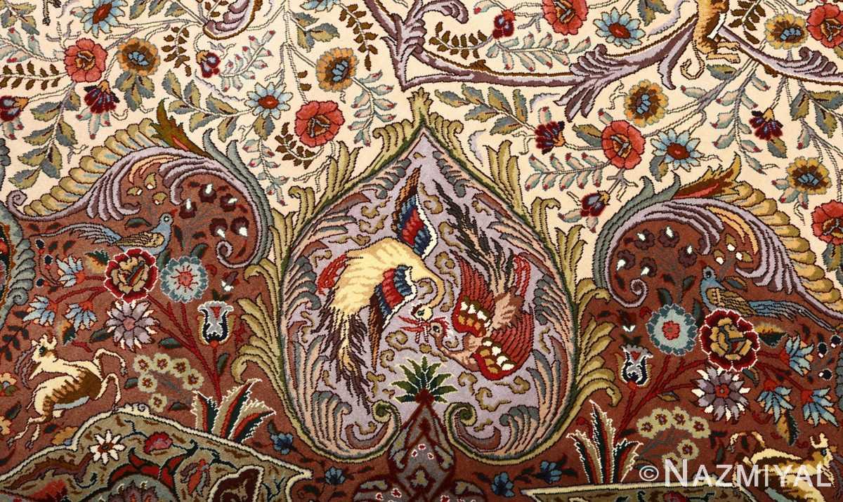 oval animal motif vintage tabriz persian rug 51120 reverse Nazmiyal