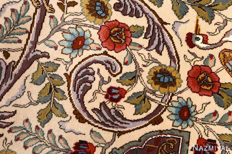 oval animal motif vintage tabriz persian rug 51120 scroll Nazmiyal