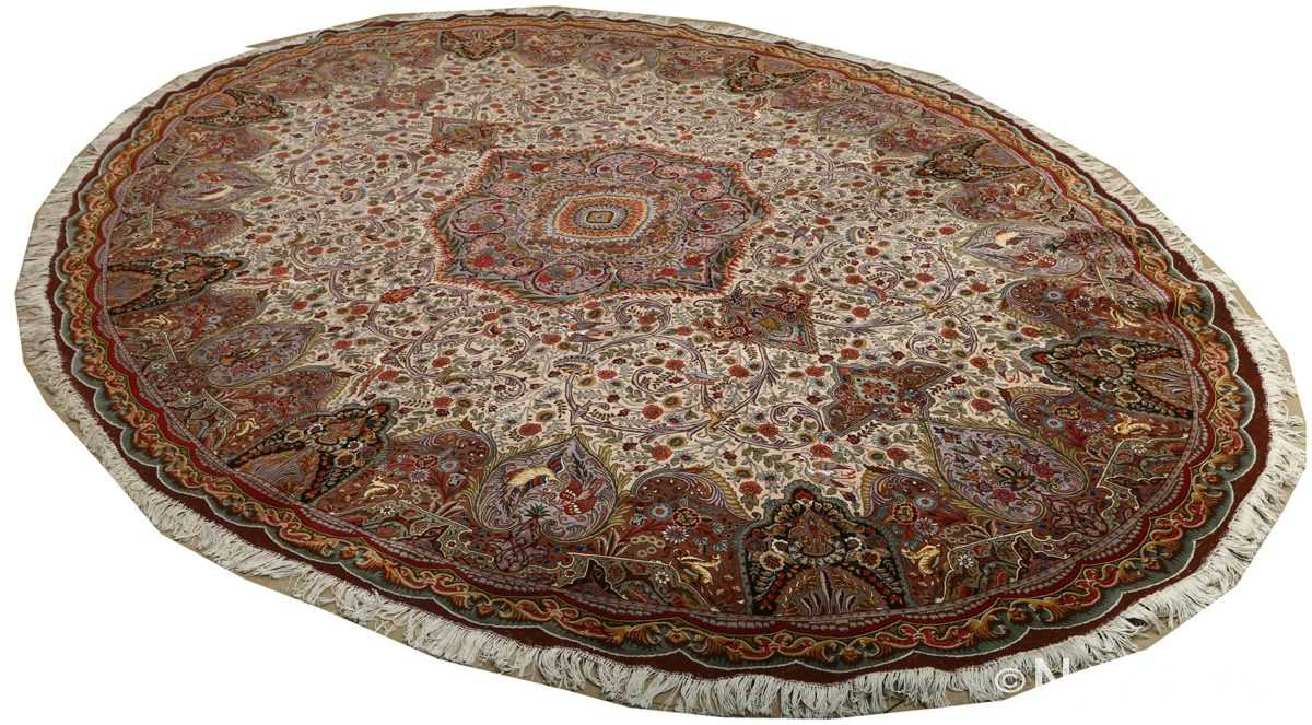 oval animal motif vintage tabriz persian rug 51120 side Nazmiyal