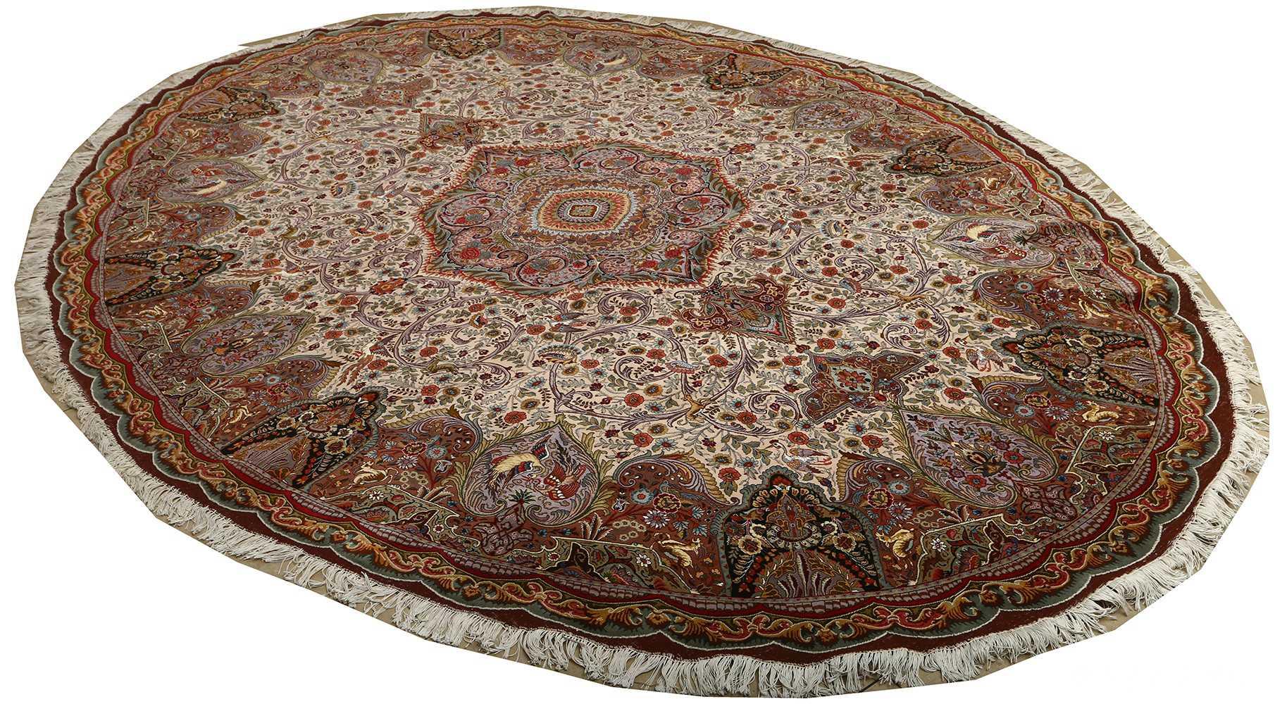 oval animal motif vintage tabriz persian rug 51120 side Nazmiyal