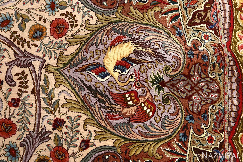 oval animal motif vintage tabriz persian rug 51120 simorgh Nazmiyal