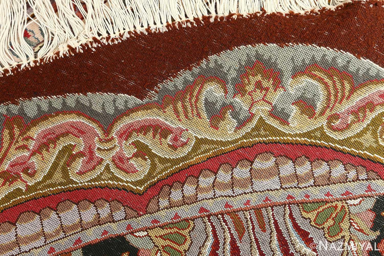 oval animal motif vintage tabriz persian rug 51120 weave Nazmiyal
