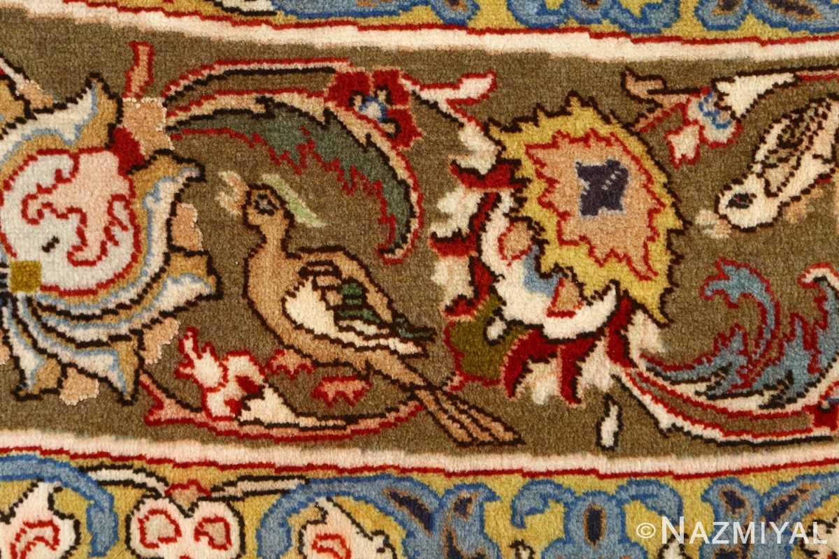 oval hunting scene vintage tabriz rug 51131 bird Nazmiyal
