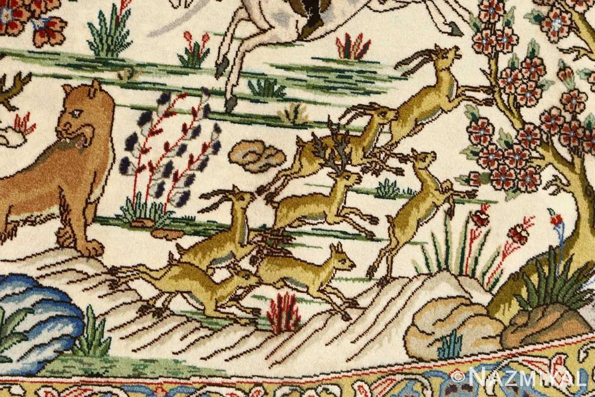 oval hunting scene vintage tabriz rug 51131 deers Nazmiyal