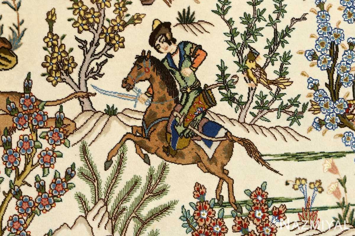 oval hunting scene vintage tabriz rug 51131 horseman Nazmiyal